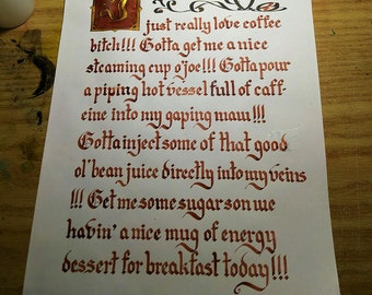 Coffee Lover Illuminated Calligraphy Print