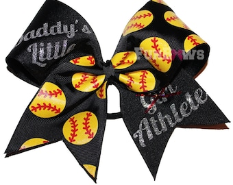 Daddy's Little Athlete Softball or Cheer Bow by FunBows !