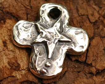 Believe Rustic Cross with Star Charm in Sterling Silver, R-76