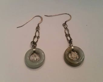 Vintage Green Stone Silver Dangle Earrings Chinese Asian