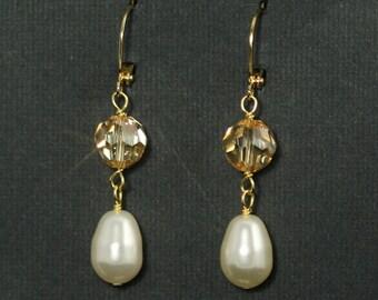 Crystal Pearl Earrings, Cream Pearl Bridal Earrings, Champagne Crystal Wedding Earrings, Gold Bridesmaid Earrings, Wedding Jewelry -- GOLDEN