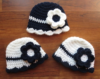 Crocheted Baby Girl Triplet Hat Set ~ White and Dark Navy Blue ~ Baby Shower Gift or Photo Prop ~ Sizes Newborn to 24 Months - MADE TO ORDER
