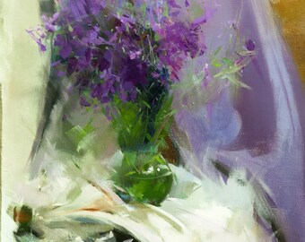 Colorful Painting with Flowers, Lilac Painting, Floral Oil Painting Canvas Art Original Flowers, Contemporary Still Life