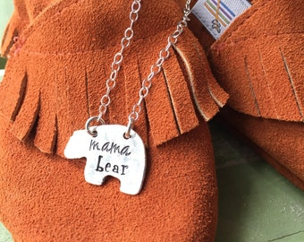 Hand stamped personalized mama bear necklace-custom jewelry for mom- necklace with bear- gift for mother