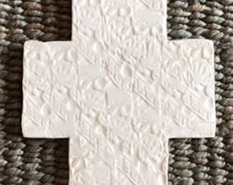 Large clay cross w/transparent glaze