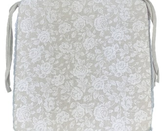 """Provence Cotton Chair Cushion 16"""" by 16"""", White Rose"""