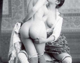 1920's Era Lesbian Nude Study-French Postcard Style-Black & White-Multiple Sizes-[730-712] Sensual Sultry Sexy Erotic