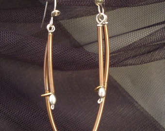 Twig Earrings made of copper silver and gold