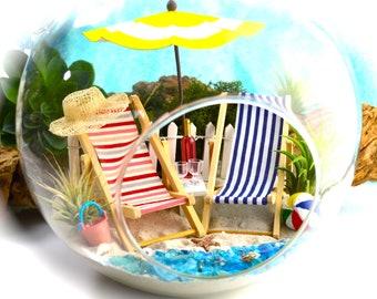 """Beach Terrarium Kit ~ 8"""" Air Plant Terrarium ~ Coastal Living Beach Decor ~ His/Hers Beach Chairs ~ Umbrella ~ Beach Bucket and Ball ~ Gift"""