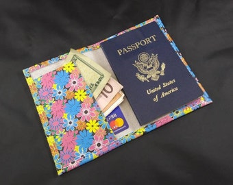 Leather Passport Cover Flower Power