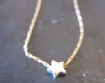 little star charm necklace silver on gold filled chain