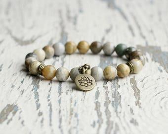 lotus charm lotus bracelet jasper bead yoga bracelet lotus jewelry gift for her bracelets mala beaded bracelet women gems zen namaste gift