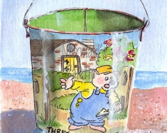 Beach Sand Pail Painting Three Little Pigs Sand Pail- vintage toy  print of an original watercolor