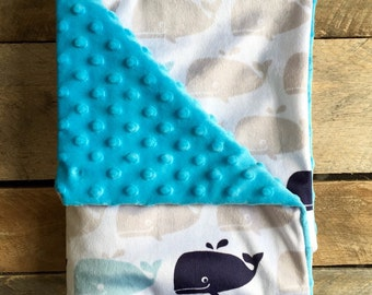 Minky Baby Blanket - Whales with Turquoise Bubble Back