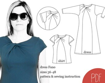 sewing pattern dress Fano, woman dress pattern, sewing pattern, PDF pattern, instant download. knotted neck