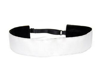 Adjustable Non-Slip Headband - Extra Wide Solid White