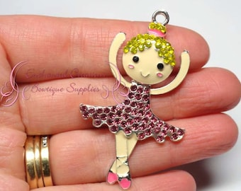 "2"" Pink Blonde Ballerina Girl Pendant, Bubblegum Charm, Gumball Jewelry, Chunky Necklace, Zipper Pull, Keychain, Bookmark, Purse Charm"