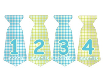 12 Pre-cut Monthly Baby Milestone Waterproof Glossy Stickers - Neck Tie Shape - Design T007-01