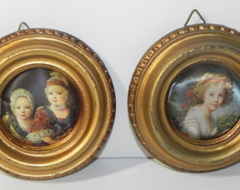 Vintage Italian Miniature Silk Pictures Wood Frame