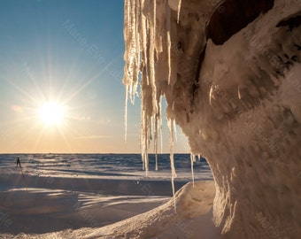Photography art decor, ice on a course of the sunset on the ice: ice - Marie - Eve LaBadie