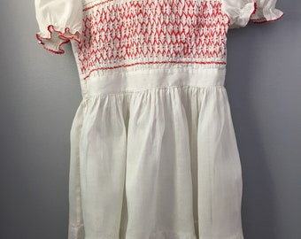 Polly Flinders Vintage white dress hand smocked  with red threads Size 6