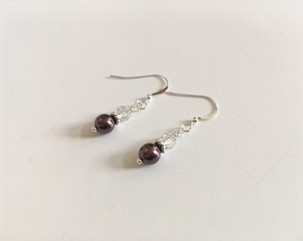 Beautiful burgundy Swarovski pearl earrings