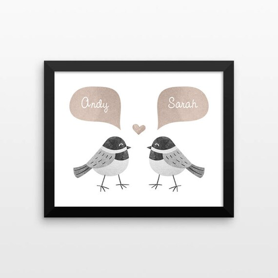 CHICKADEE BIRD Couple Wall Art Print Decor Personalized Wedding Gift for Couple Gift Engagement Gift Idea Anniversary Gift for Wife Husband