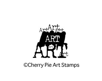 ART graphic wording- CLING rubber STAMP by Cherry Pie G222