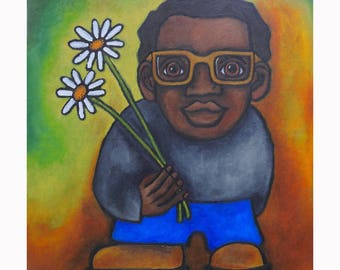"""Archival quality reproduction, entitled """"Man with Flowers"""" hand signed and titled by the artist, Karen James"""
