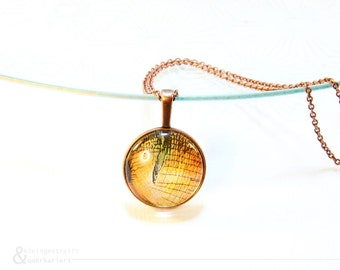 """necklace apple, fall, thanksgiving, orange, coppery coloured frame, wallpaper, wallpaper jewelry, Vintage, Collection """"Elsa"""""""