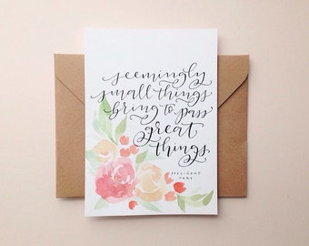 Custom Lettering with Watercolor Watercolor Border | loose roses 5x7