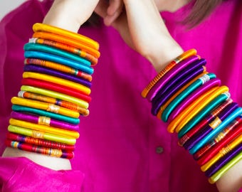 Accessories   Hand-made silk bangle - traditional Indian silk sari bracelets made by local social enterprises in India