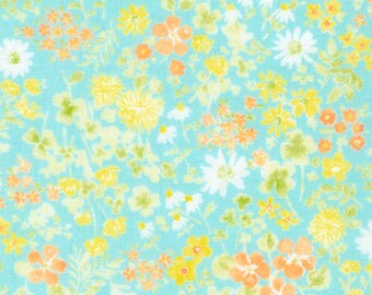 Floral in Aqua - Sevenberry - Robert Kaufman - double gauze cotton fabric