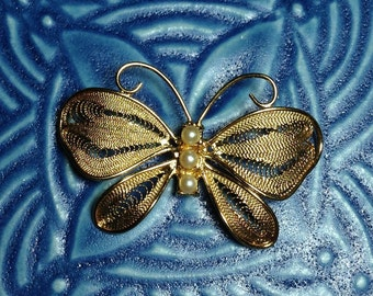 vintage brooch, butterfly brooch, gold metal brooch, gold butterfly