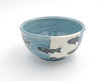 Ceramic Bowl // clay cereal bowl, clay dish, pottery bowl, wheelthrown pottery, handmade pottery, blue bowl, carp fish, mishima, fish