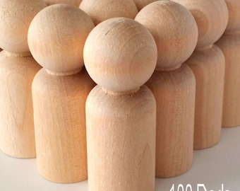 100 Wooden Dad Peg Dolls / 100 Dads / Peg People / Waldorf / Unfinished Maple Ready to Paint / 100 Dads