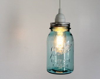 Mason Jar Light - Aqua Ocean Blue Sea Glass Modern Industrial Swag Lamp - Handcrafted Upcycled BootsNGus Hanging Pendant Lighting Fixture
