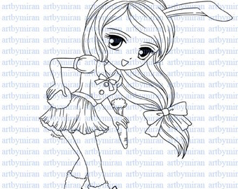 Digital Stamp-Cotton Tail, Digi Stamp, Coloring page, Printable Line art for Card and Craft Supply, Art by Mi Ran Jung