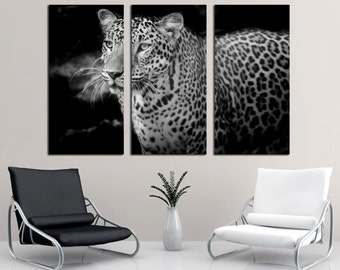 Leopard B&W Portrait - 3 panel split (Triptych) Canvas Print.  Black and white wildlife / feline animal multi print for office wall decor.