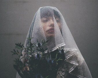 NEPHELE VEIL - Handmade flock dot mantilla drop veil with fringe edge - Bohemian vintage style - For the unique bride and wedding