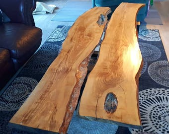 Live-edge wood coffee table.  Greek Olive Wood.