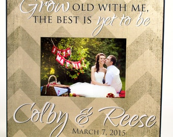 """Personalized Newlywed Picture Frame for 5""""x7"""" Photo Frame Overall Size 12""""x12"""" Grow Old With Me The Best Is yet To Be Frame"""