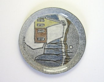 French Canadian Winter Landscape - Vintage Fine Art Ceramic Plate - Charles Sucsan Quebec Art Pottery - Blue Wall Decor - Country Home Decor