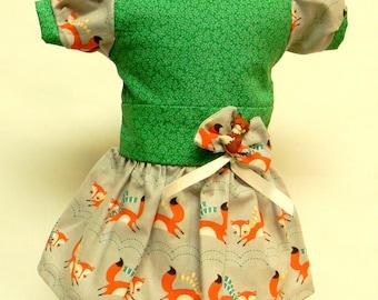 Fox Print Dress For 18 Inch Dolls Like The American Girl