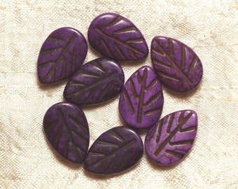 10pc - beads Turquoise synthetic leaves purple 20 mm 4558550033581