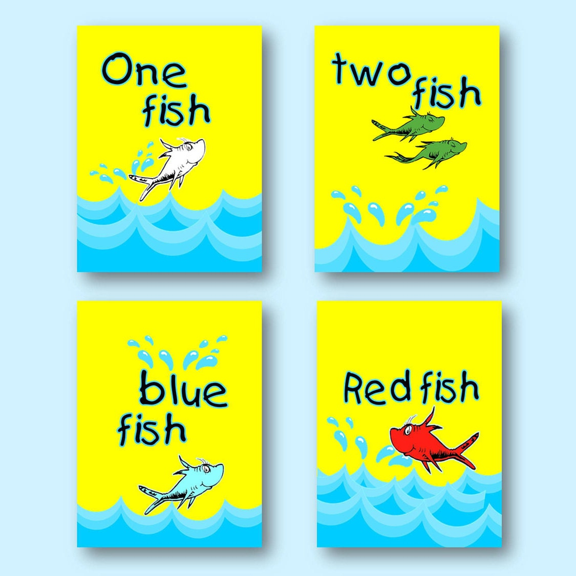 Dr. Seuss One Fish Two Fish Bathroom Red Fish Blue Fish