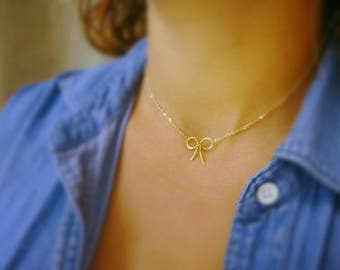 Dainty bow necklace, bridesmaid jewelry gift idea, minimal layering necklace, tie the knot, bridal jewelry, weddings, adjustable neckkace