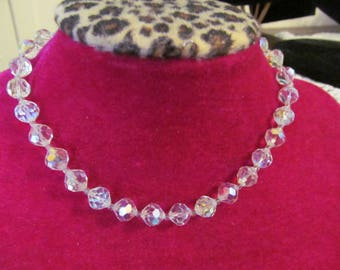 Vintage Crystal Beaded Necklace, Iridescent Beads