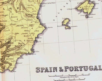Spain Portugal Map 1871 Victorian Lippencott Antique Copper Engraving European Cartography