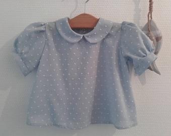 Blue satin blouse, 12 months